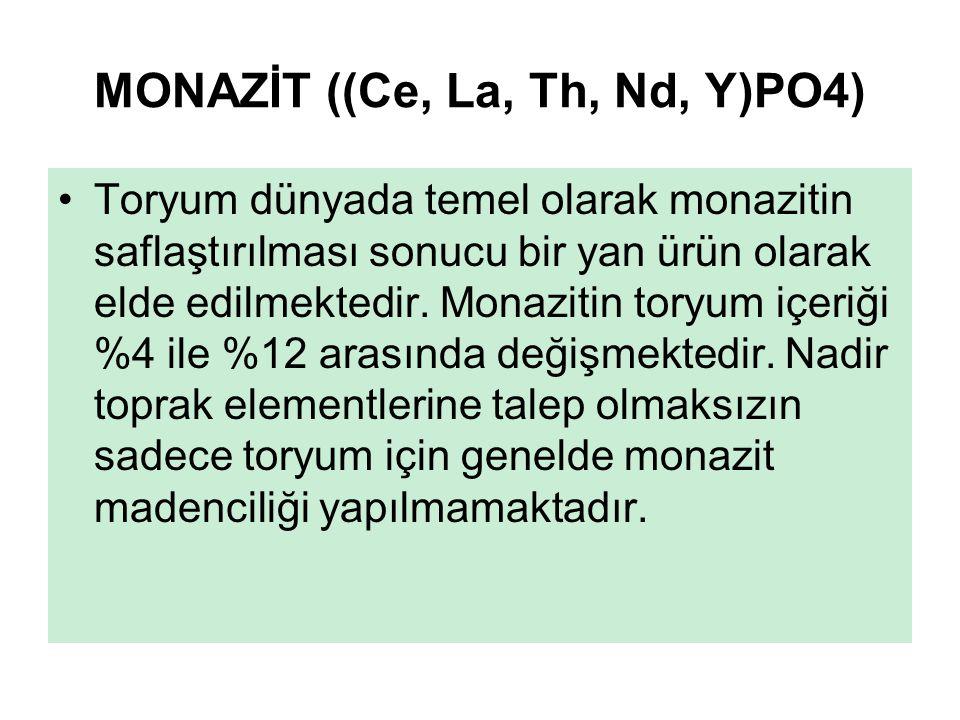 MONAZİT ((Ce, La, Th, Nd, Y)PO4) Toryum dünyada temel olarak monazitin saflaştırılması sonucu bir yan ürün olarak elde edilmektedir. Monazitin toryum