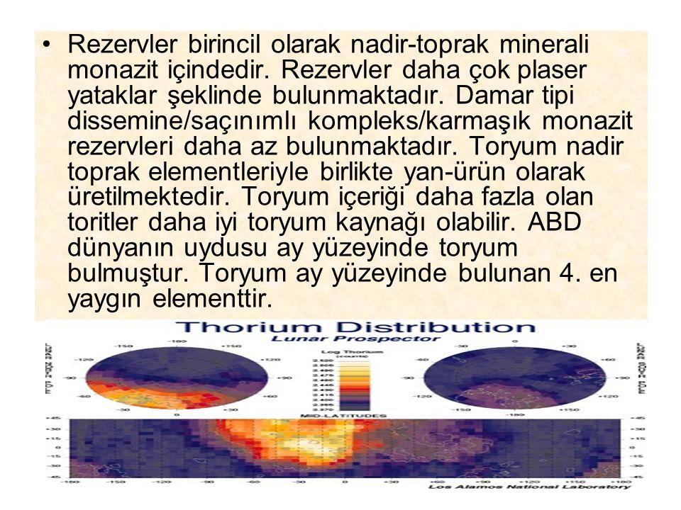 Rezervler birincil olarak nadir-toprak minerali monazit içindedir. Rezervler daha çok plaser yataklar şeklinde bulunmaktadır. Damar tipi dissemine/saç