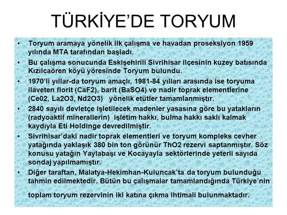 TÜRKİYE'DE TORYUM Toryum aramaya yönelik ilk çalışma ve havadan proseksiyon 1959 yılında MTA tarafından başladı. Bu çalışma sonucunda Eskişehirili Siv