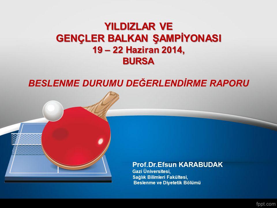 Prof.Dr.Efsun KARABUDAK Gazi Üniversitesi, Sağlık Bilimleri Fakültesi, Beslenme ve Diyetetik Bölümü YILDIZLAR VE GENÇLER BALKAN ŞAMPİYONASI 19 – 22 Ha