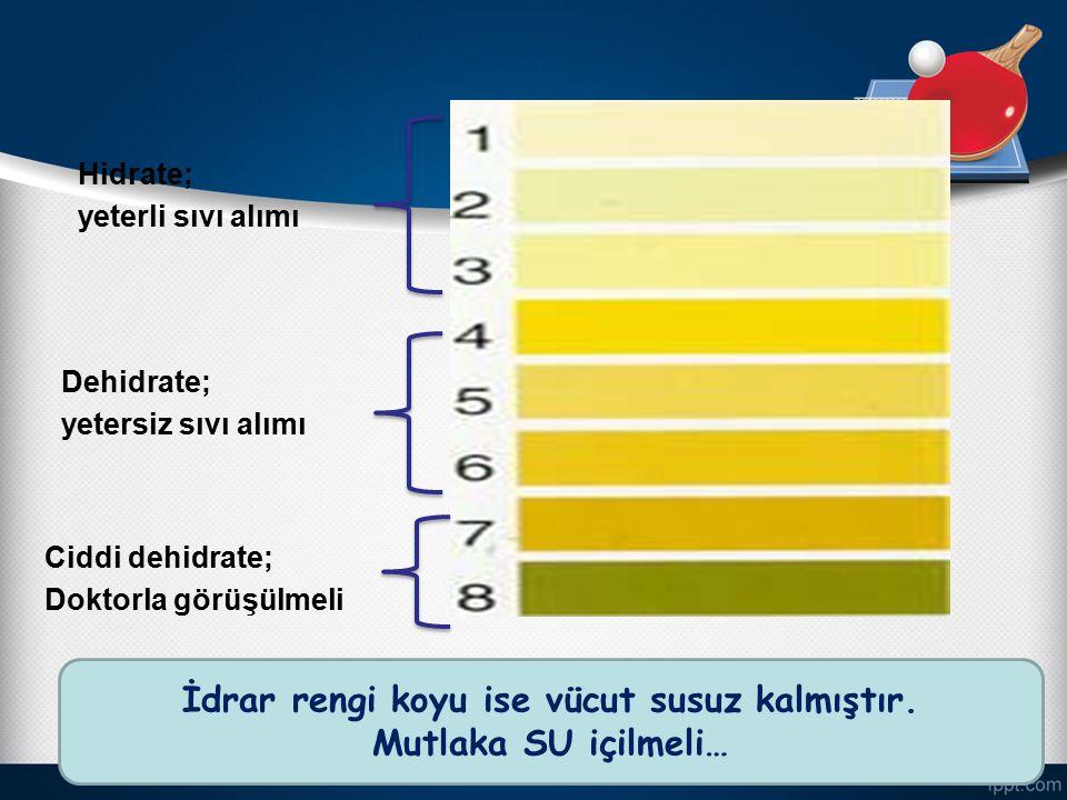 9 Hidrate; yeterli sıvı alımı Dehidrate; yetersiz sıvı alımı Ciddi dehidrate; Doktorla görüşülmeli İdrar rengi koyu ise vücut susuz kalmıştır. Mutlaka