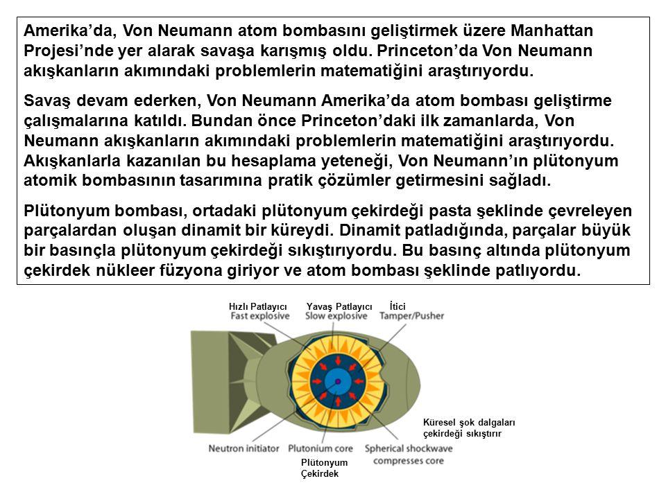 Amerika'da, Von Neumann atom bombasını geliştirmek üzere Manhattan Projesi'nde yer alarak savaşa karışmış oldu. Princeton'da Von Neumann akışkanların