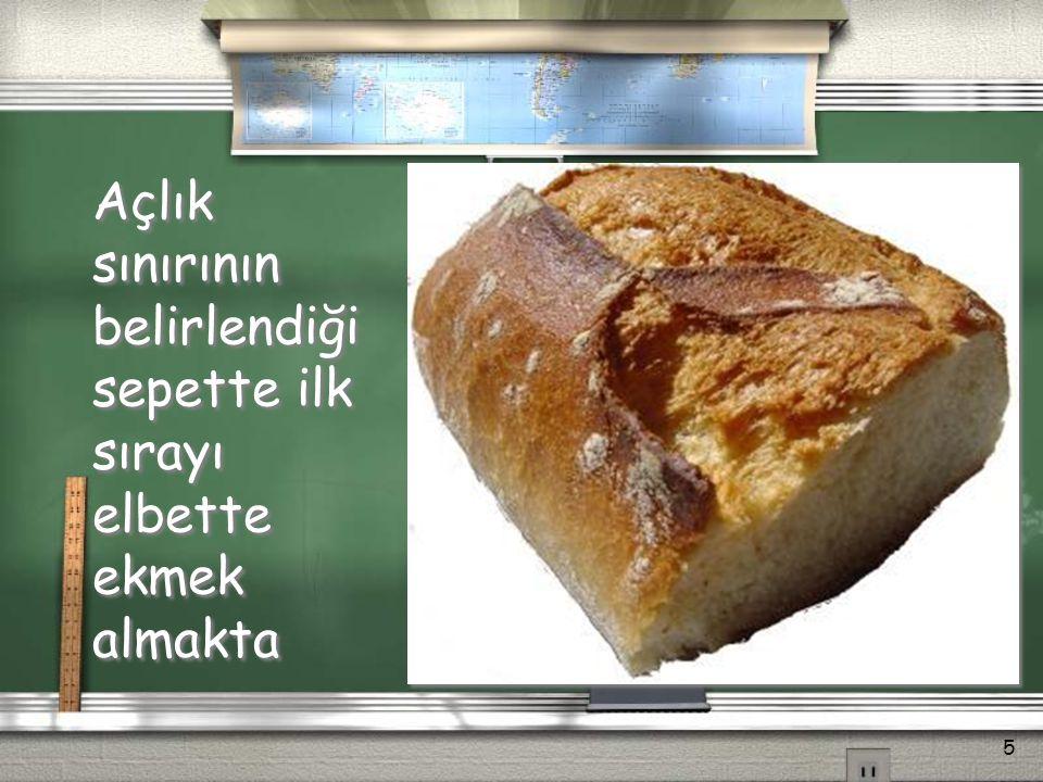 Açlık sınırının belirlendiği sepette; / Ekmek ve tahıllar (ekmek, bulgur, pirinç, makarna) / Et (dana, koyun, tavuk eti) / Balık / Süt, peynir, yoğurt, yumurta / Katı ve sıvı yağlar / Meyveler / Sebzeler / Şeker, reçel, bal, salça vb.