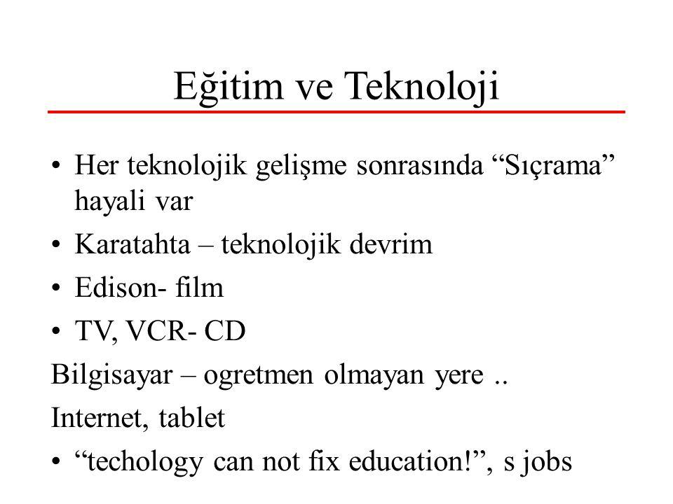 Eğitim ve Teknoloji Her teknolojik gelişme sonrasında Sıçrama hayali var Karatahta – teknolojik devrim Edison- film TV, VCR- CD Bilgisayar – ogretmen olmayan yere..