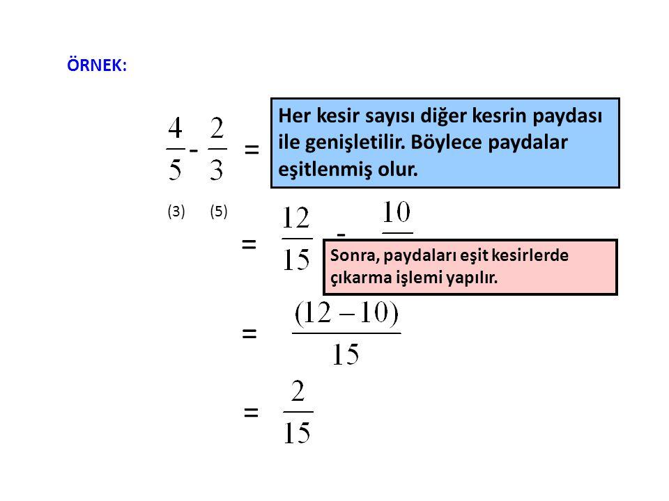 - = - = - = = (3)(5) ÖRNEK: Her kesir sayısı diğer kesrin paydası ile genişletilir.