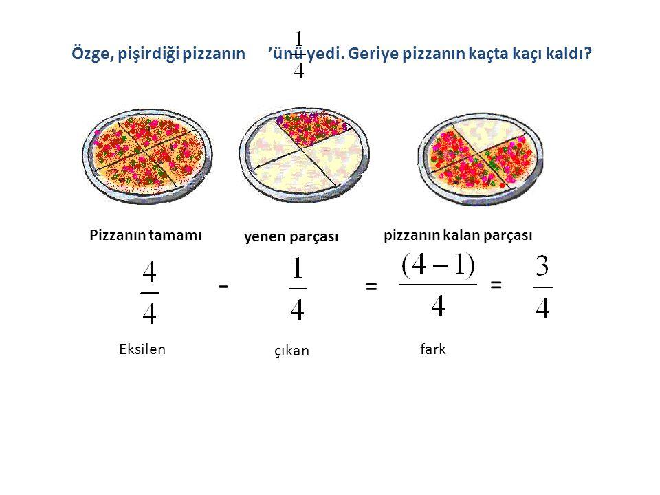 Pizzanın tamamı yenen parçası pizzanın kalan parçası = = - Eksilen çıkan fark Özge, pişirdiği pizzanın 'ünü yedi.