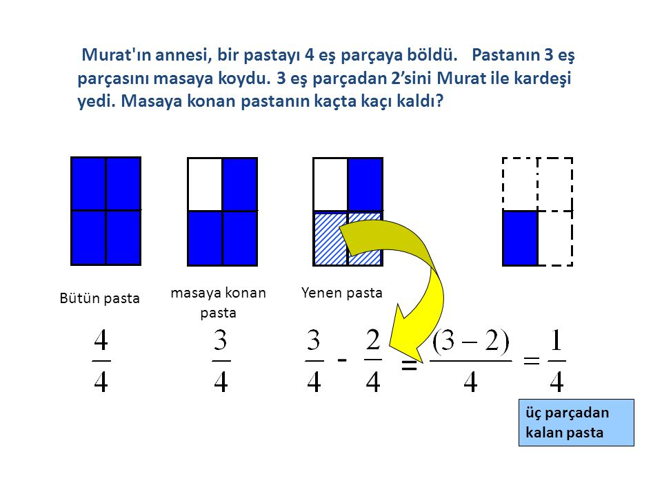 Eşit paydalı bileşik kesirlerde çıkarma işlemi yapılırken;  1.