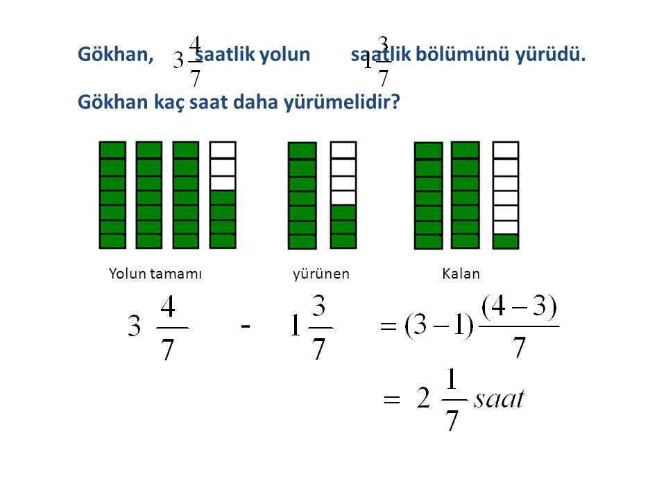 Eşit paydalı tam sayılı kesirlerle çıkarma işlemi yapılırken;  1.