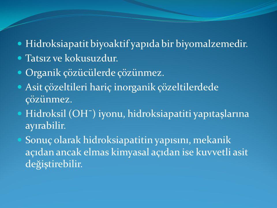 Hidroksiapatit biyoaktif yapıda bir biyomalzemedir. Tatsız ve kokusuzdur. Organik çözücülerde çözünmez. Asit çözeltileri hariç inorganik çözeltilerded