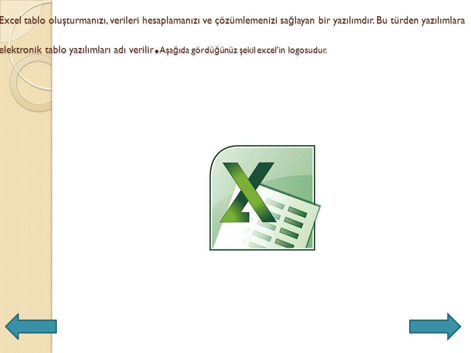 Excel tablo oluşturmanızı, verileri hesaplamanızı ve çözümlemenizi sa ğ layan bir yazılımdır.