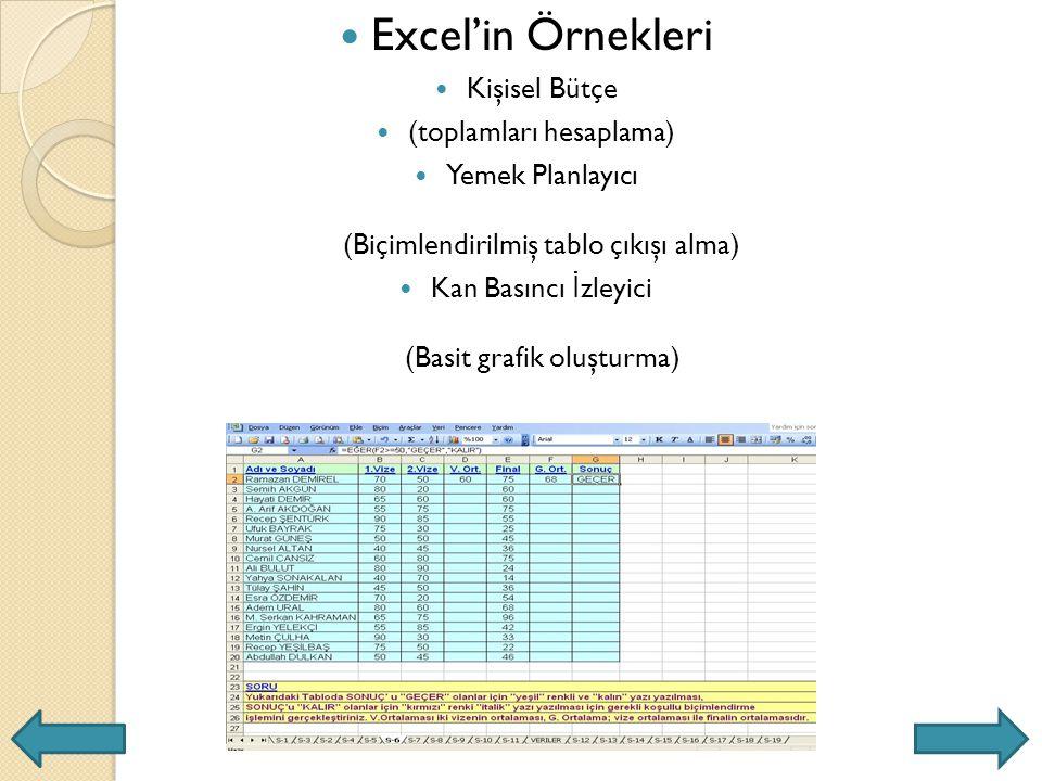 Excel'in Örnekleri Kişisel Bütçe (toplamları hesaplama) Yemek Planlayıcı (Biçimlendirilmiş tablo çıkışı alma) Kan Basıncı İ zleyici (Basit grafik oluşturma)