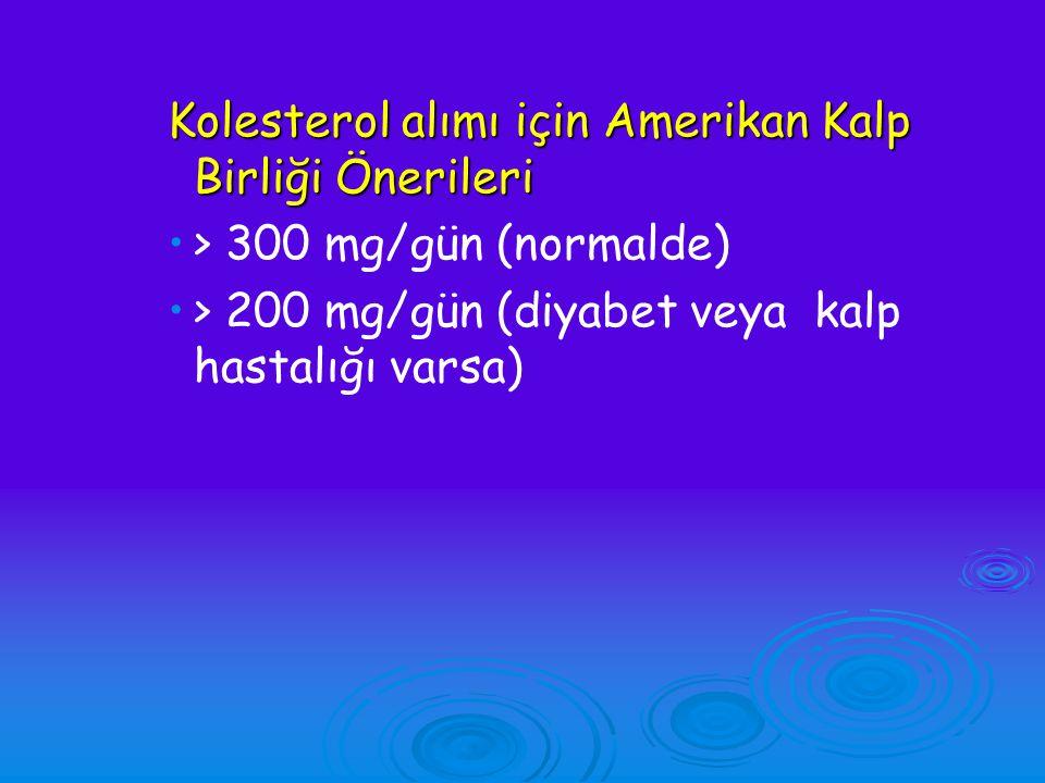 Kolesterol alımı için Amerikan Kalp Birliği Önerileri > 300 mg/gün (normalde) > 200 mg/gün (diyabet veya kalp hastalığı varsa)