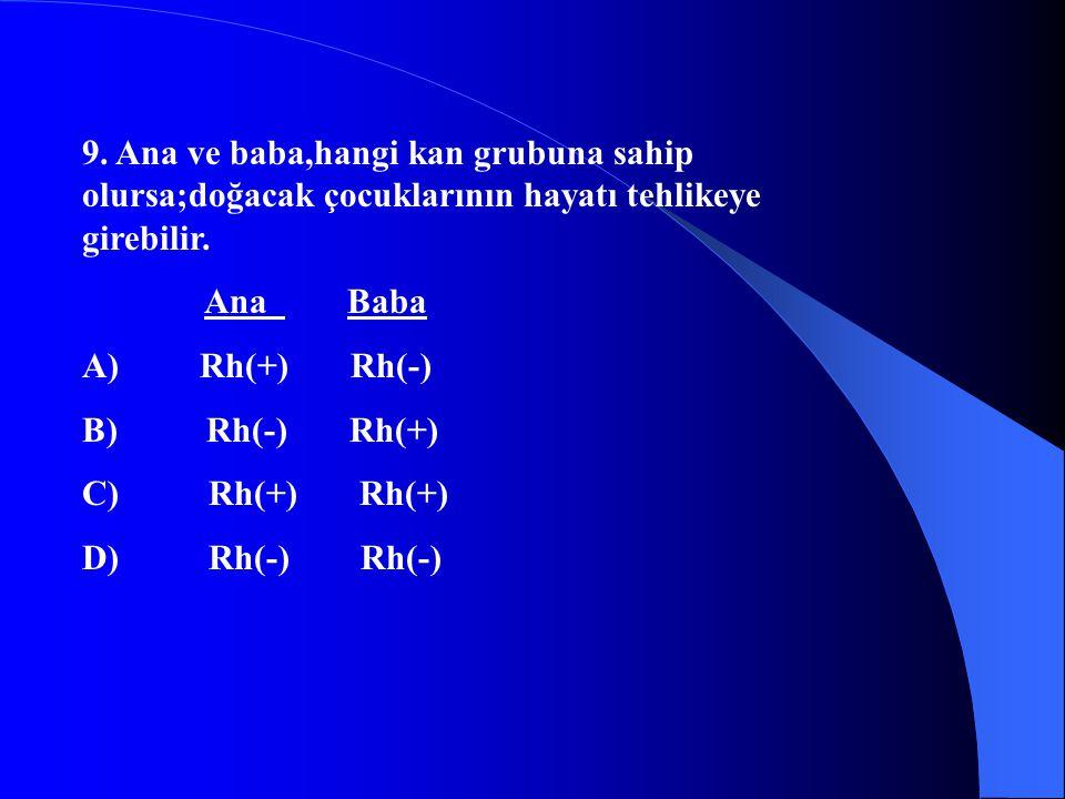 9. Ana ve baba,hangi kan grubuna sahip olursa;doğacak çocuklarının hayatı tehlikeye girebilir. Ana Baba A) Rh(+) Rh(-) B) Rh(-) Rh(+) C) Rh(+) Rh(+) D