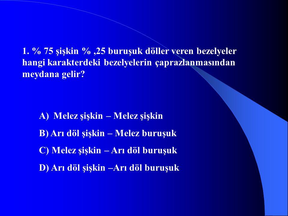 C.11 M m M MM Mm m M m mm Melez bir canlının çaprazlanmasından ¾ oranında dominant karakterli bireyler oluşur.