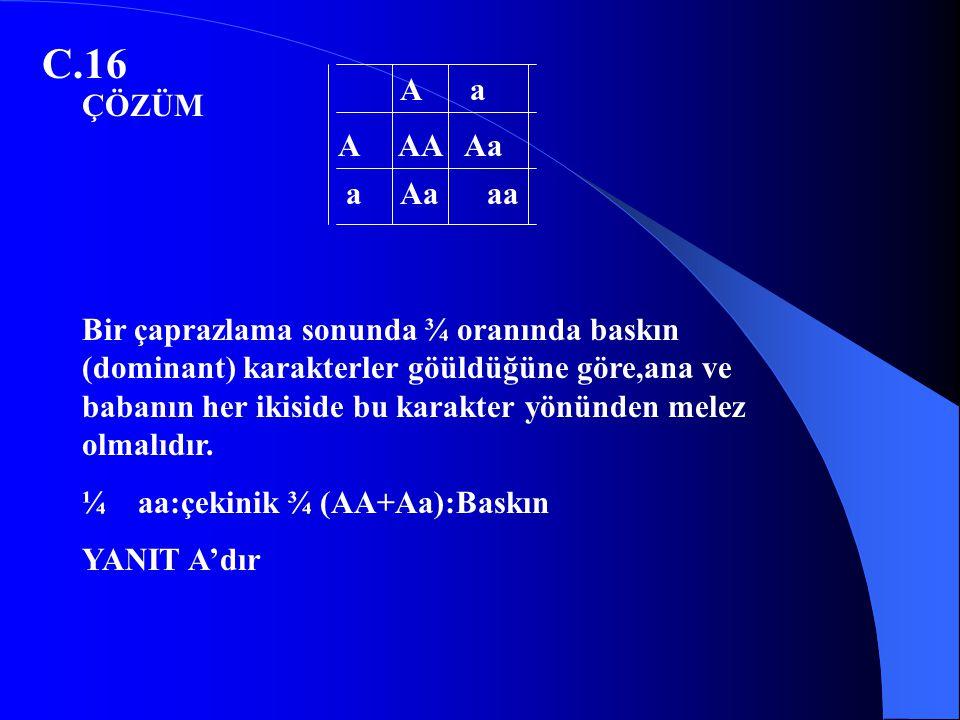 C.16 Bir çaprazlama sonunda ¾ oranında baskın (dominant) karakterler göüldüğüne göre,ana ve babanın her ikiside bu karakter yönünden melez olmalıdır.