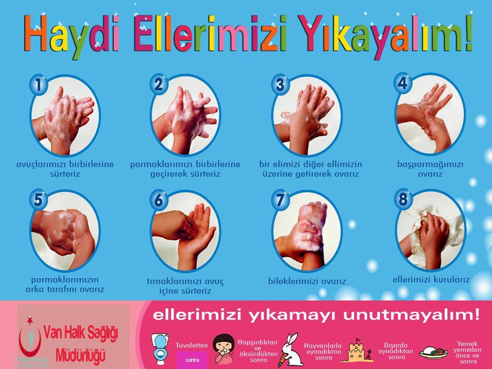 *Dışarıdan eve geldikten sonra, *Hapşırdıktan sonra, *Yere düşen eşyaya dokunduktan sonra, *Eller kirli hissedildiğinde yıkanmalıdır.