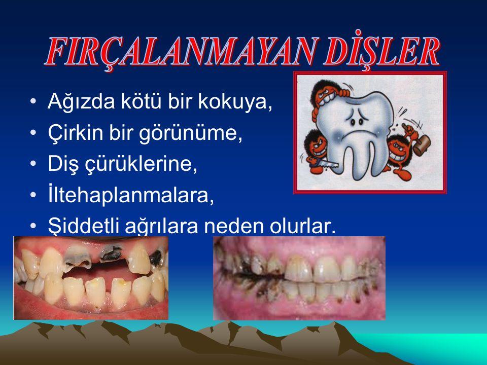 Ağızda kötü bir kokuya, Çirkin bir görünüme, Diş çürüklerine, İltehaplanmalara, Şiddetli ağrılara neden olurlar.