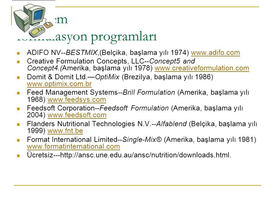 Bazı yem formulasyon programları ADIFO NV--BESTMIX,(Belçika, başlama yılı 1974) www.adifo.comwww.adifo.com Creative Formulation Concepts, LLC--Concept5 and Concept4.(Amerika, başlama yılı 1978) www.creativeformulation.comwww.creativeformulation.com Domit & Domit Ltd.—OptiMix (Brezilya, başlama yılı 1986) www.optimix.com.br www.optimix.com.br Feed Management Systems--Brill Formulation (Amerika, başlama yılı 1968) www.feedsys.comwww.feedsys.com Feedsoft Corporation--Feedsoft Formulation (Amerika, başlama yılı 2004) www.feedsoft.comwww.feedsoft.com Flanders Nutritional Technologies N.V.--Alfablend (Belçika, başlama yılı 1999) www.fnt.bewww.fnt.be Format International Limited--Single-Mix® (Amerika, başlama yılı 1981) www.formatinternational.com www.formatinternational.com Ücretsiz---http://ansc.une.edu.au/ansc/nutrition/downloads.html.