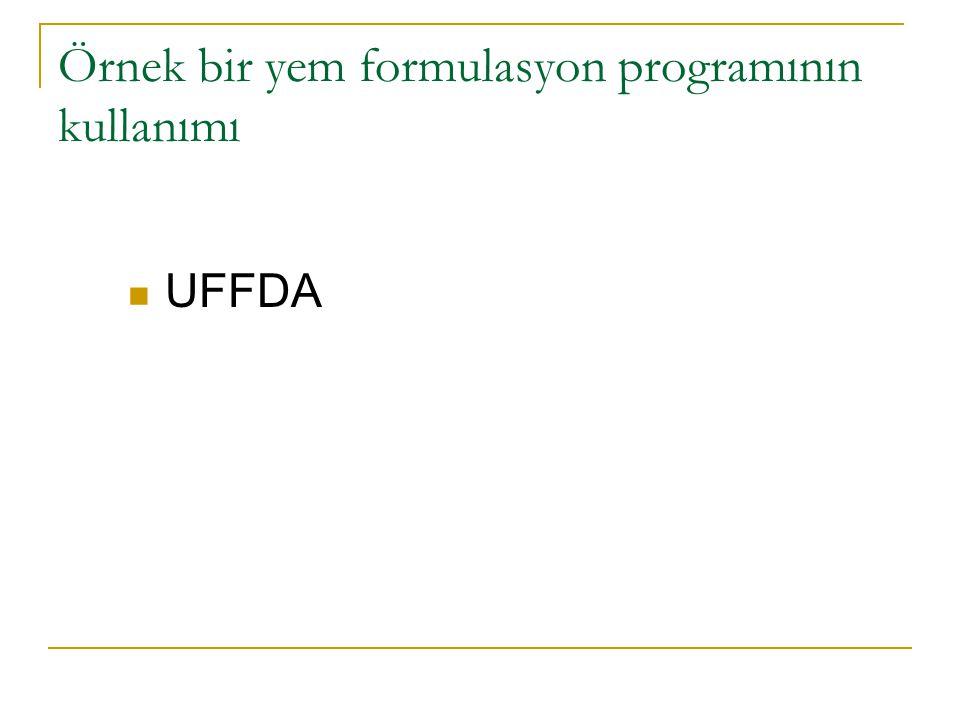 Örnek bir yem formulasyon programının kullanımı UFFDA