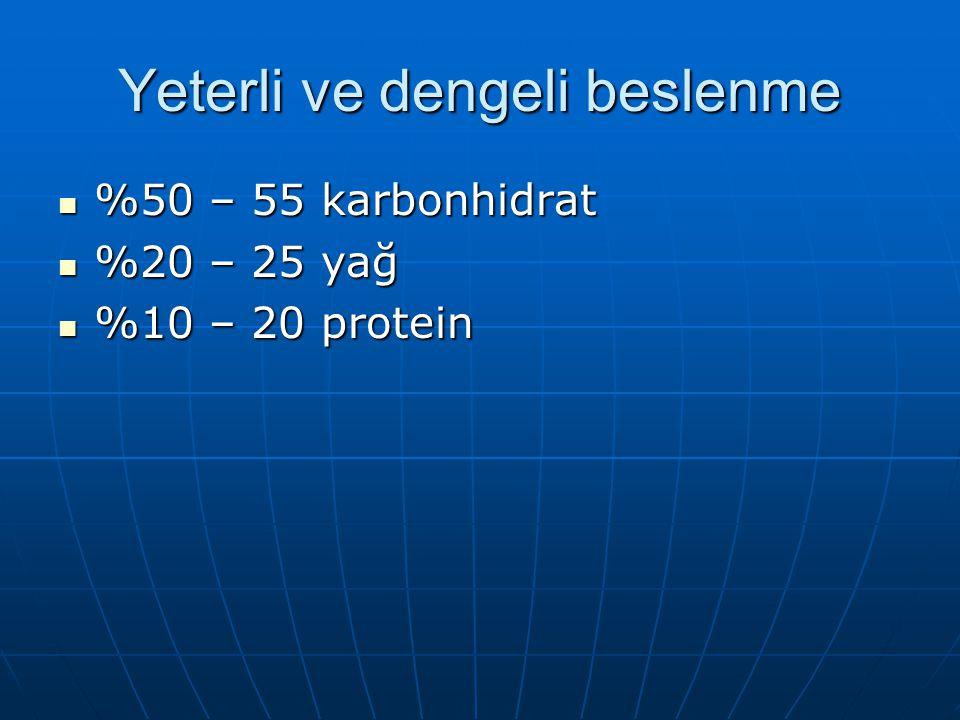 Yeterli ve dengeli beslenme %50 – 55 karbonhidrat %50 – 55 karbonhidrat %20 – 25 yağ %20 – 25 yağ %10 – 20 protein %10 – 20 protein