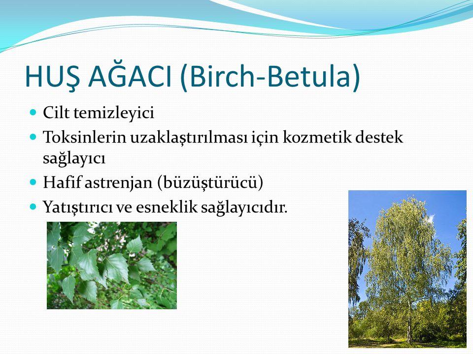 HUŞ AĞACI (Birch-Betula) Cilt temizleyici Toksinlerin uzaklaştırılması için kozmetik destek sağlayıcı Hafif astrenjan (büzüştürücü) Yatıştırıcı ve esn