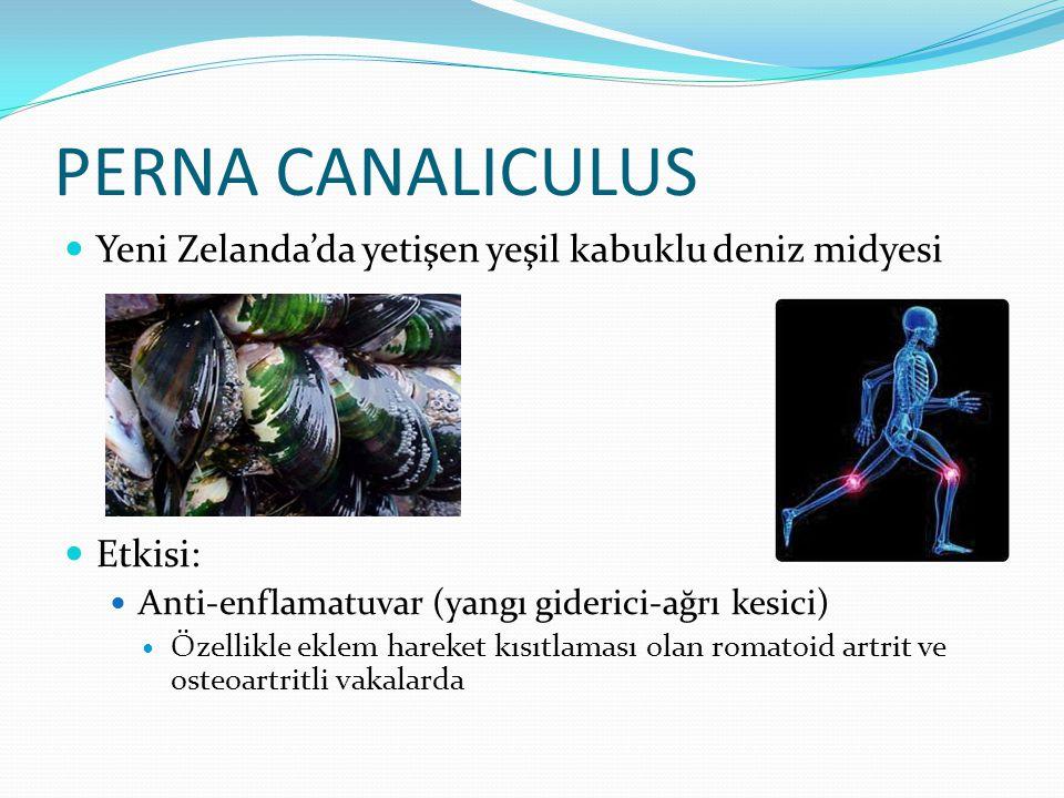PERNA CANALICULUS Yeni Zelanda'da yetişen yeşil kabuklu deniz midyesi Etkisi: Anti-enflamatuvar (yangı giderici-ağrı kesici) Özellikle eklem hareket k