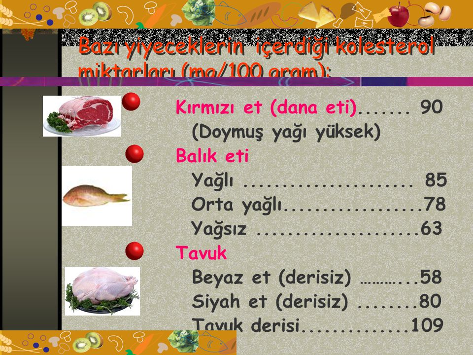Bazı yiyeceklerin içerdiği kolesterol miktarları (mg/100 gram): Kırmızı et (dana eti).......
