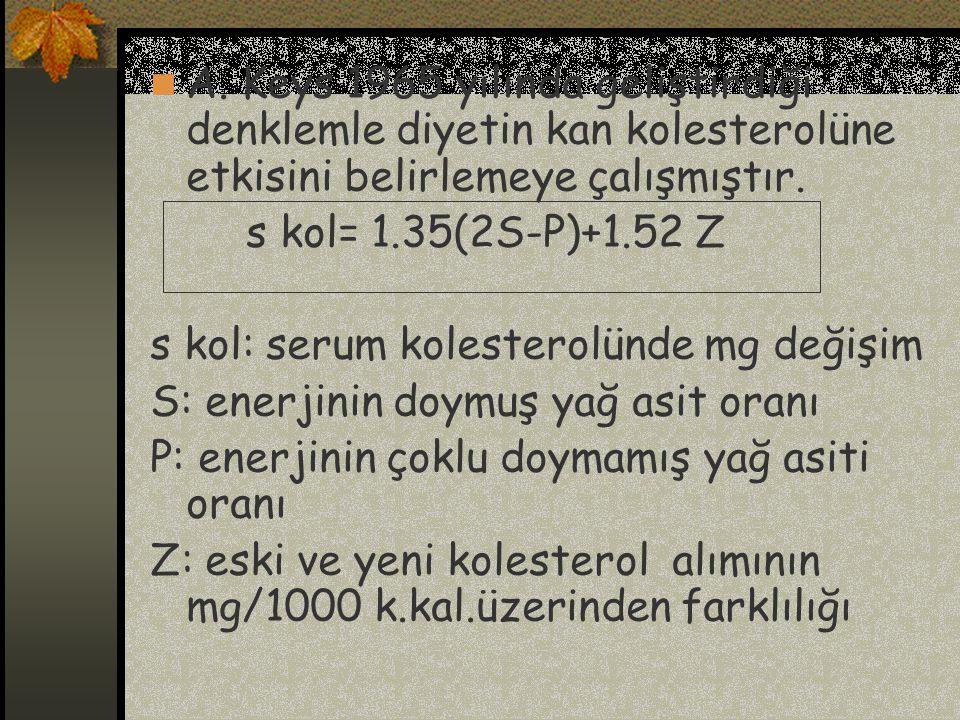 A. Keys 1965 yılında geliştirdiği denklemle diyetin kan kolesterolüne etkisini belirlemeye çalışmıştır. s kol= 1.35(2S-P)+1.52 Z s kol: serum kolester
