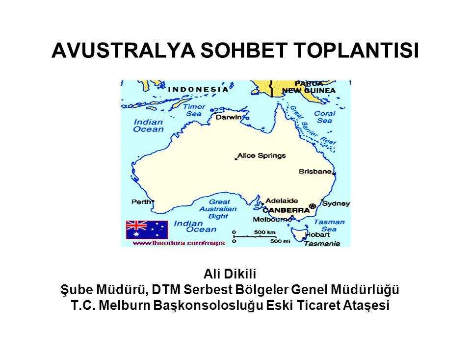 GENEL BİLGİLER Resmi Adı: Avustralya Topluluğu Yönetim Biçimi: Anayasal Monarşi (İngiliz Kral ya da Kraliçesini Devlet Başkanı Olarak Tanıyan Demokratik Federal Eyalet Sistemi) Resmi Dili: İngilizce Başkenti: Kanbera Yüzölçümü: 7.692.924 km2 (Adalar dahil) Nüfusu (Haziran 2008): 21.007.310 Para Birimi: Avustralya Doları
