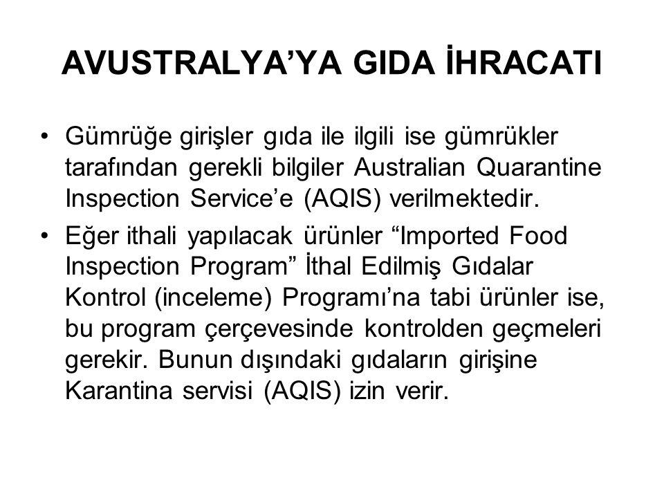 AVUSTRALYA'YA GIDA İHRACATI Gümrüğe girişler gıda ile ilgili ise gümrükler tarafından gerekli bilgiler Australian Quarantine Inspection Service'e (AQIS) verilmektedir.