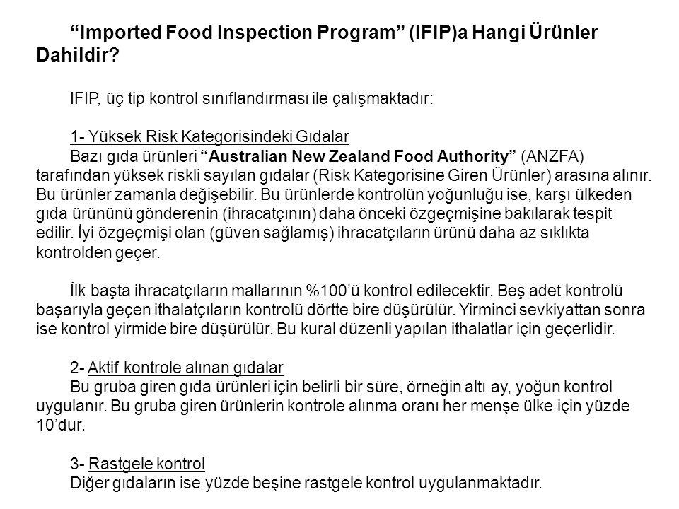 """""""Imported Food Inspection Program"""" (IFIP)a Hangi Ürünler Dahildir? IFIP, üç tip kontrol sınıflandırması ile çalışmaktadır: 1- Yüksek Risk Kategorisind"""