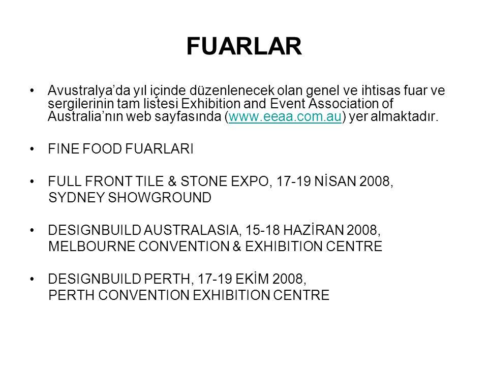 FUARLAR Avustralya'da yıl içinde düzenlenecek olan genel ve ihtisas fuar ve sergilerinin tam listesi Exhibition and Event Association of Australia'nın