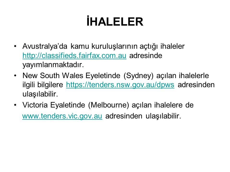 İHALELER Avustralya'da kamu kuruluşlarının açtığı ihaleler http://classifieds.fairfax.com.au adresinde yayımlanmaktadır.