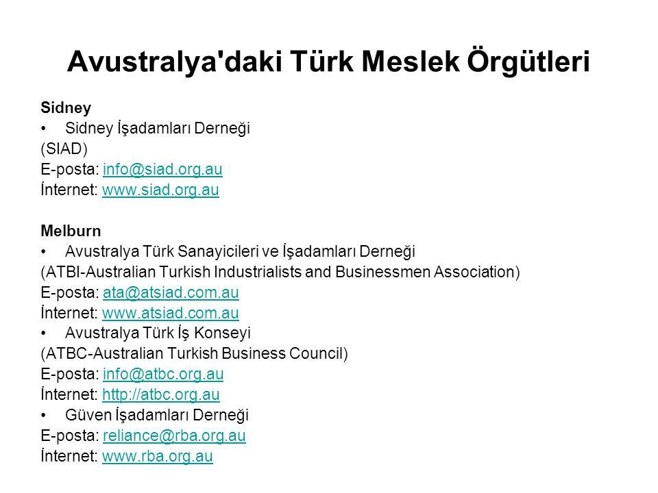 Avustralya'daki Türk Meslek Örgütleri Sidney Sidney İşadamları Derneği (SIAD) E-posta: info@siad.org.auinfo@siad.org.au İnternet: www.siad.org.auwww.s