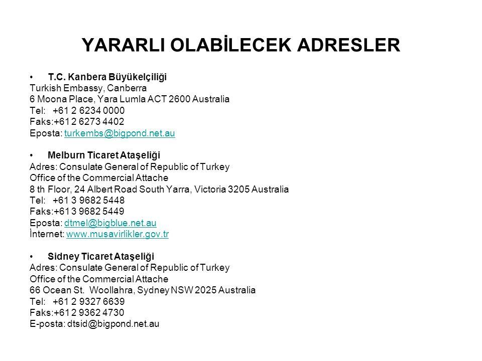 YARARLI OLABİLECEK ADRESLER T.C. Kanbera Büyükelçiliği Turkish Embassy, Canberra 6 Moona Place, Yara Lumla ACT 2600 Australia Tel: +61 2 6234 0000 Fak