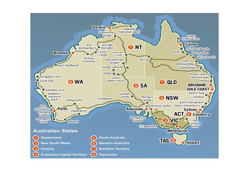 Eyaletler: Başkentleri: New South Wales (NSW) Sydney Victoria (VIC) Melbourne Queensland (QLD) Brisbane Western Australia (WA) Perth South Australia (SA) Adelaide Tasmania (TAS) Hobart Özerk Bölgeler: Australian Capital Territory (ACT) Canberra Northern Territory (NT) Darwin GENEL BİLGİLER (devam)