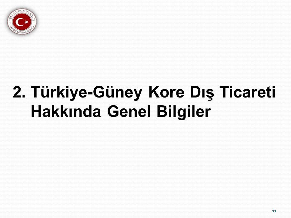 11 2. Türkiye-Güney Kore Dış Ticareti Hakkında Genel Bilgiler