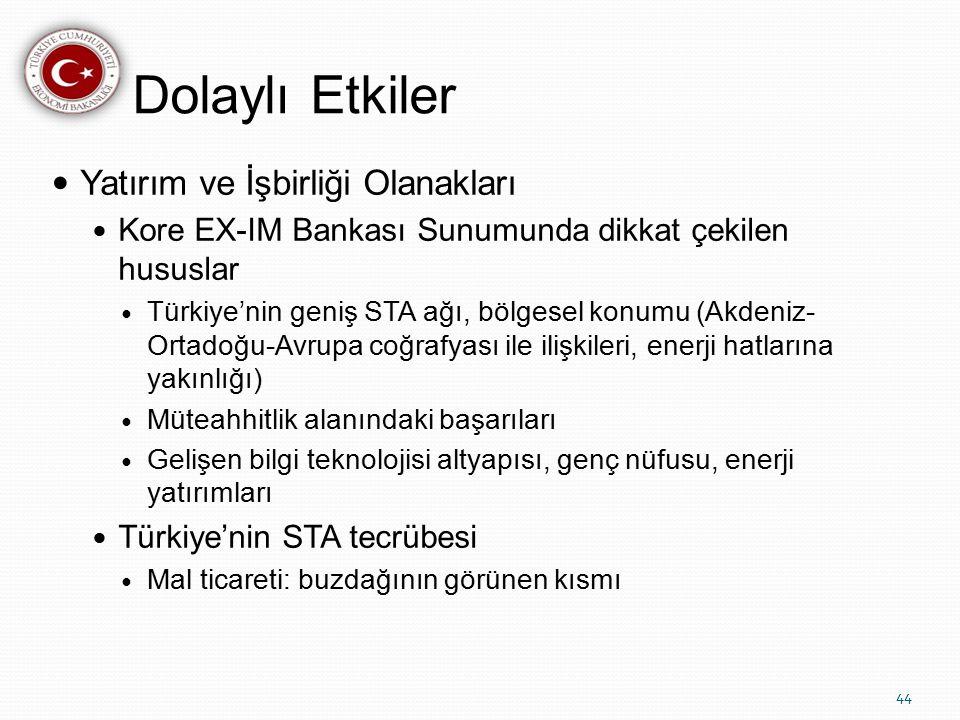 Dolaylı Etkiler Yatırım ve İşbirliği Olanakları Kore EX-IM Bankası Sunumunda dikkat çekilen hususlar Türkiye'nin geniş STA ağı, bölgesel konumu (Akdeniz- Ortadoğu-Avrupa coğrafyası ile ilişkileri, enerji hatlarına yakınlığı) Müteahhitlik alanındaki başarıları Gelişen bilgi teknolojisi altyapısı, genç nüfusu, enerji yatırımları Türkiye'nin STA tecrübesi Mal ticareti: buzdağının görünen kısmı 44