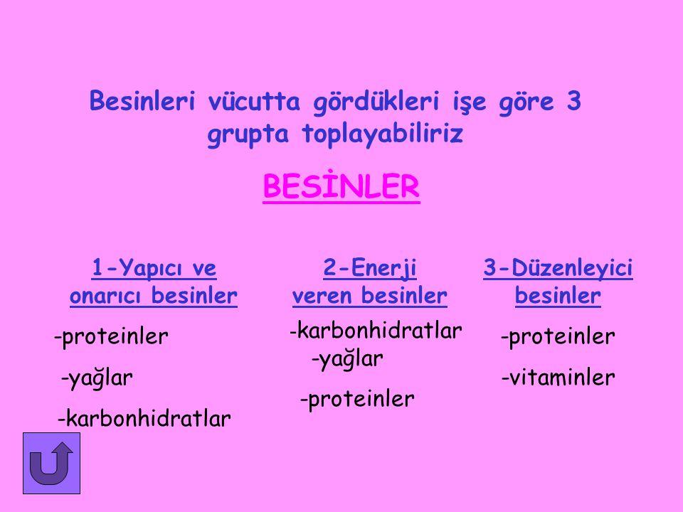 BESİN KAYNAKLARI 1.Hayvansal besinler 2.Bitkisel besinler -Et -Sebzeler -Süt -Meyveler -Yumurta -Bal
