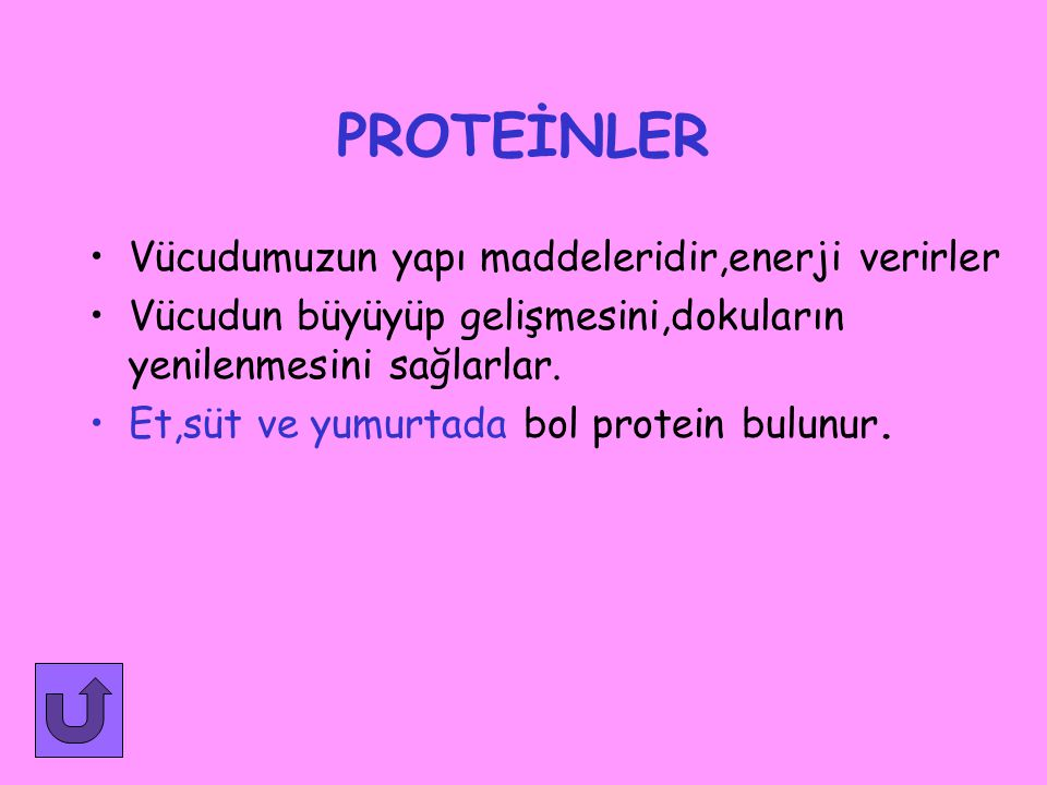 Besinleri vücutta gördükleri işe göre 3 grupta toplayabiliriz BESİNLER 1-Yapıcı ve onarıcı besinler 2-Enerji veren besinler 3-Düzenleyici besinler -proteinler -yağlar -karbonhidratlar - karbonhidratlar -yağlar -proteinler -vitaminler