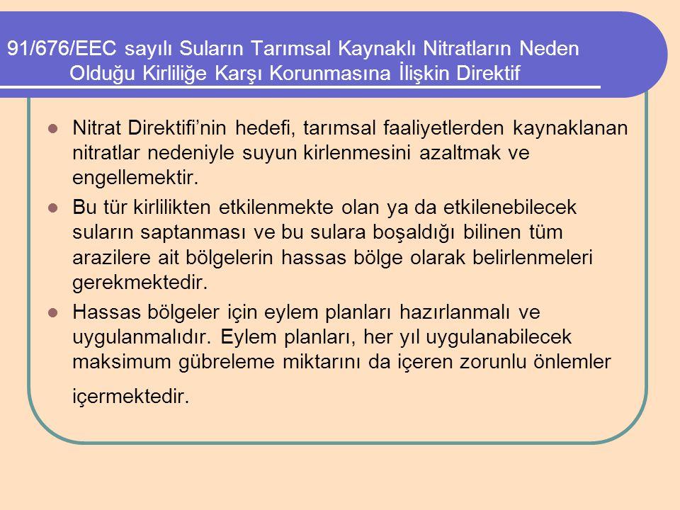 91/676/EEC sayılı Suların Tarımsal Kaynaklı Nitratların Neden Olduğu Kirliliğe Karşı Korunmasına İlişkin Direktif Nitrat Direktifi'nin hedefi, tarımsa