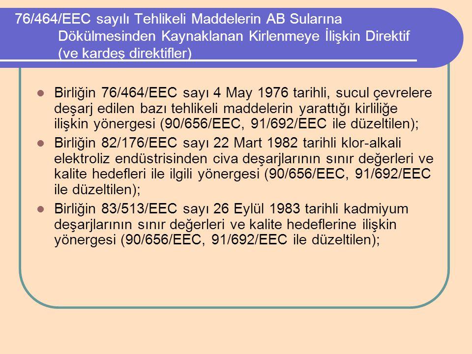 76/464/EEC sayılı Tehlikeli Maddelerin AB Sularına Dökülmesinden Kaynaklanan Kirlenmeye İlişkin Direktif (ve kardeş direktifler) Birliğin 76/464/EEC s