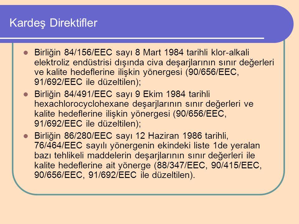 Kardeş Direktifler Birliğin 84/156/EEC sayı 8 Mart 1984 tarihli klor-alkali elektroliz endüstrisi dışında civa deşarjlarının sınır değerleri ve kalite
