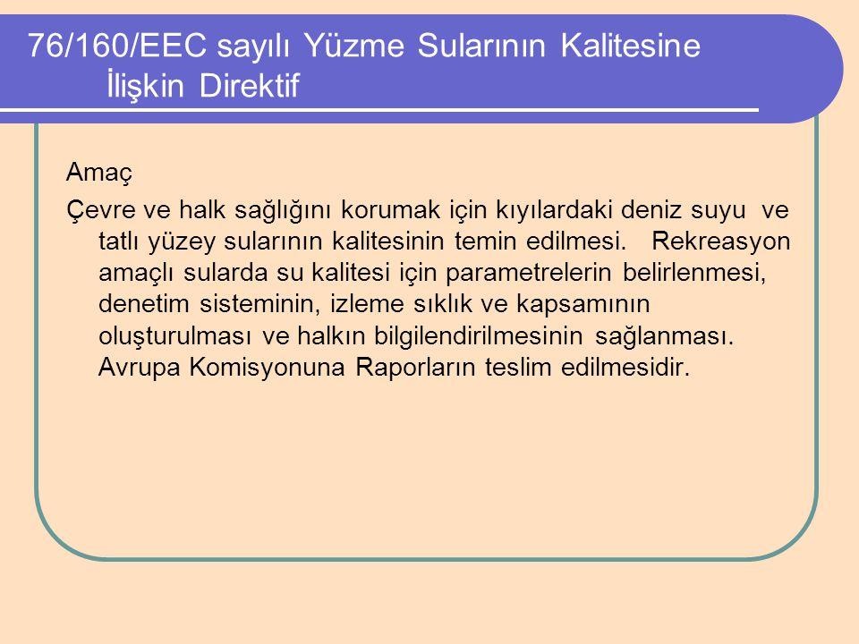 76/160/EEC sayılı Yüzme Sularının Kalitesine İlişkin Direktif Amaç Çevre ve halk sağlığını korumak için kıyılardaki deniz suyu ve tatlı yüzey sularını