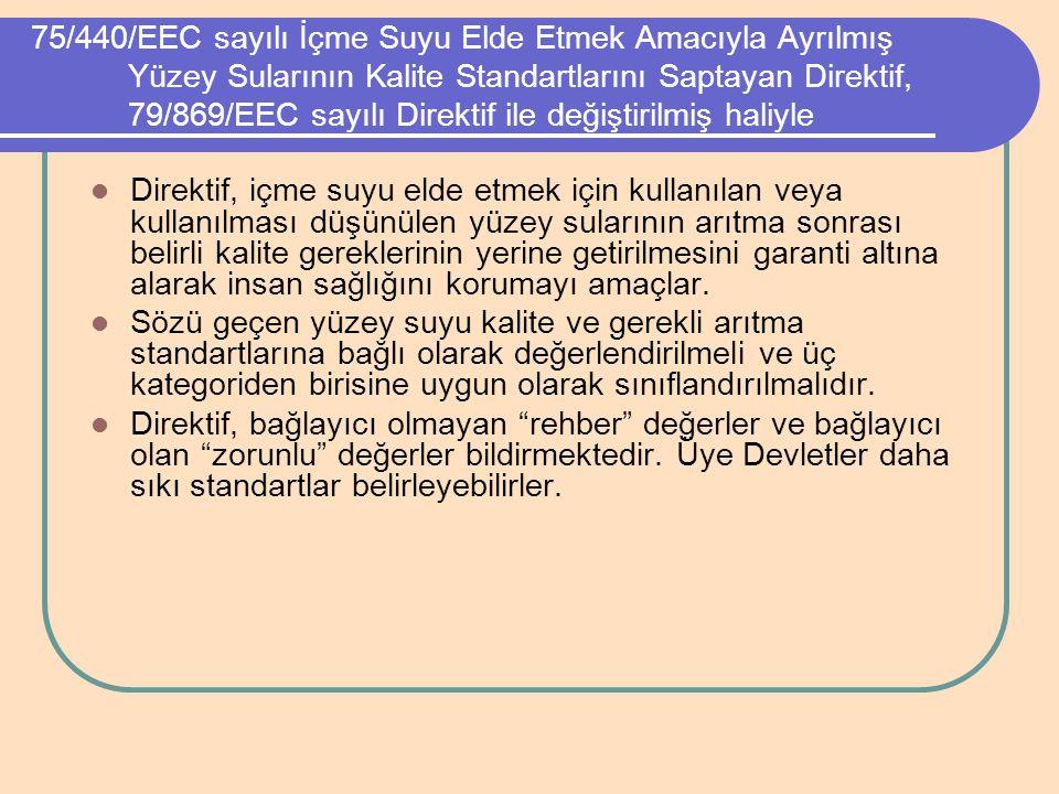 75/440/EEC sayılı İçme Suyu Elde Etmek Amacıyla Ayrılmış Yüzey Sularının Kalite Standartlarını Saptayan Direktif, 79/869/EEC sayılı Direktif ile değiş