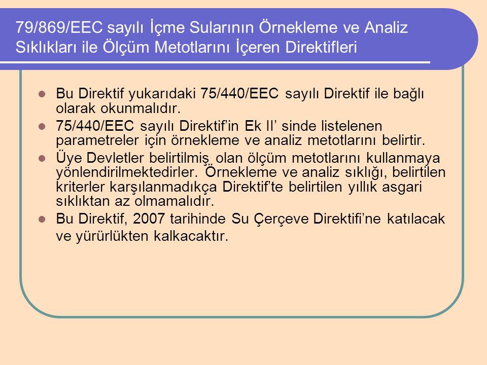 79/869/EEC sayılı İçme Sularının Örnekleme ve Analiz Sıklıkları ile Ölçüm Metotlarını İçeren Direktifleri Bu Direktif yukarıdaki 75/440/EEC sayılı Dir