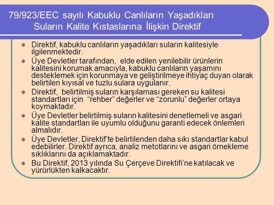 79/923/EEC sayılı Kabuklu Canlıların Yaşadıkları Suların Kalite Kıstaslarına İlişkin Direktif Direktif, kabuklu canlıların yaşadıkları suların kalites