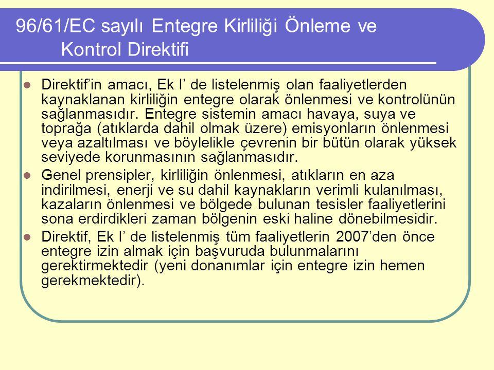 96/61/EC sayılı Entegre Kirliliği Önleme ve Kontrol Direktifi Direktif'in amacı, Ek I' de listelenmiş olan faaliyetlerden kaynaklanan kirliliğin enteg