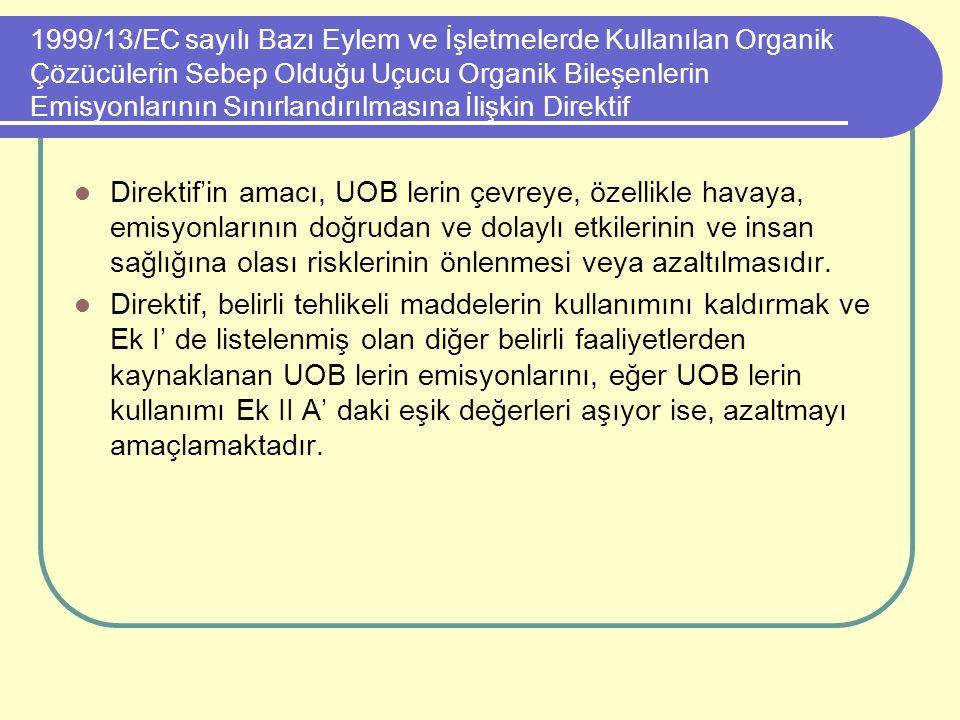 1999/13/EC sayılı Bazı Eylem ve İşletmelerde Kullanılan Organik Çözücülerin Sebep Olduğu Uçucu Organik Bileşenlerin Emisyonlarının Sınırlandırılmasına