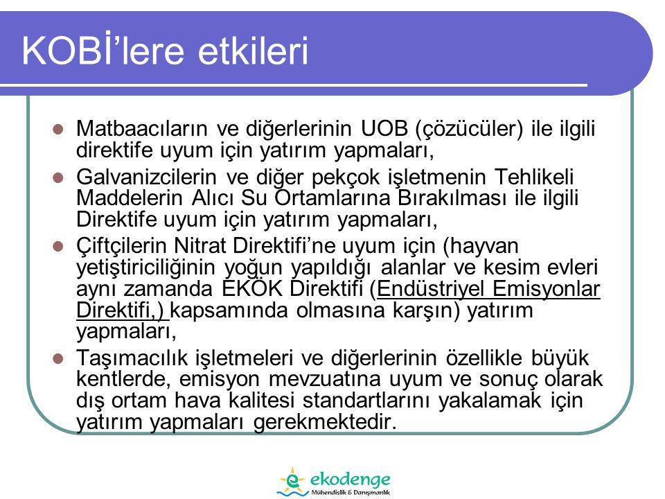 Nokta Kaynak Kontrolleri Kentsel atık sular (91/271/EEC) Titanyum Dioksit (92/112/EEC) Tehlikeli maddeler ve kardeş direktifleri (76/464/EEC) Nitratlar (91/676/EEC) IPPC (96/61/EC)